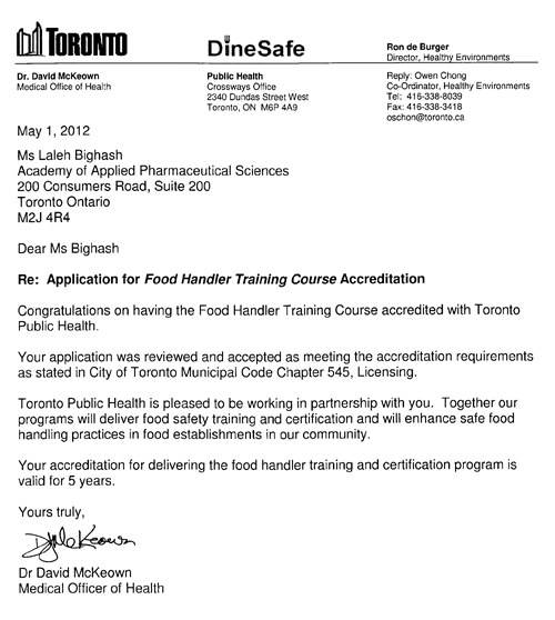food handler certificate | food handling certification toronto | aaps