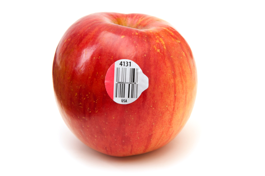 Every apple is stamped with a GS1 Data Bar or RFID barcode that makes tracking possible.