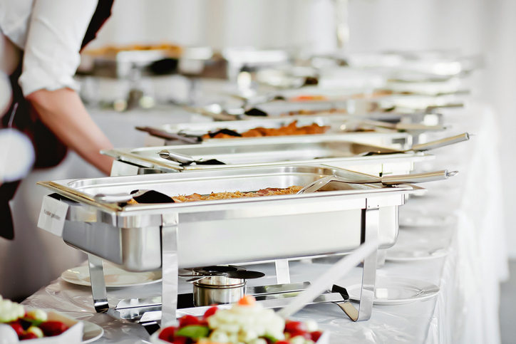 Proper equipment like chafing dishes is important