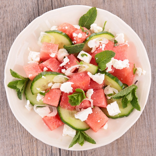 Watermelons and cucumbers are foods with high moisture content