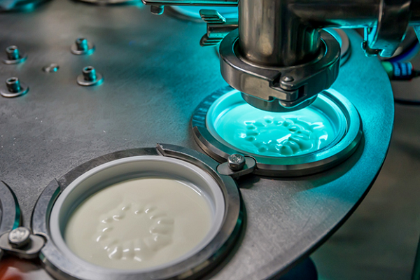 Fresh, creamy yogurt being packaged in a production plant